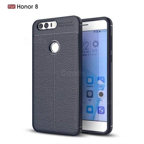 Luxury Auto Focus Litchi Texture Silicone TPU Back Cover for Huawei Honor 8 - Dark Blue