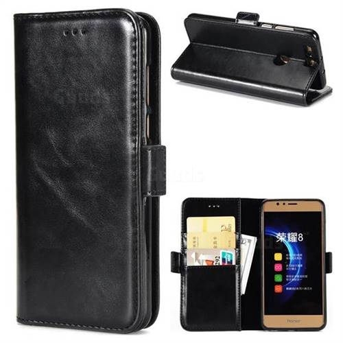 Luxury Crazy Horse PU Leather Wallet Case for Huawei Honor 8 - Black