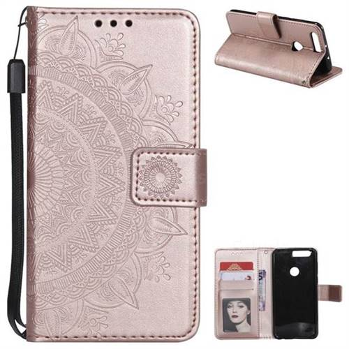 Intricate Embossing Datura Leather Wallet Case for Huawei Honor 8 - Rose Gold