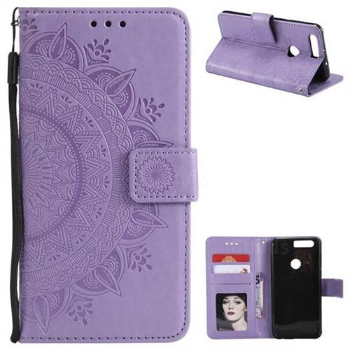 Intricate Embossing Datura Leather Wallet Case for Huawei Honor 8 - Purple