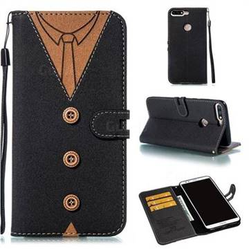 Mens Button Clothing Style Leather Wallet Phone Case for Huawei Honor 8 - Black