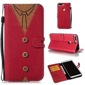 Mens Button Clothing Style Leather Wallet Phone Case for Huawei Honor 8 - Red