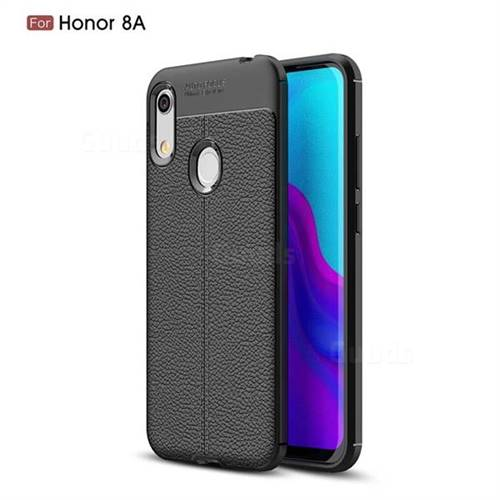 Luxury Auto Focus Litchi Texture Silicone TPU Back Cover for Huawei Honor 8A - Black
