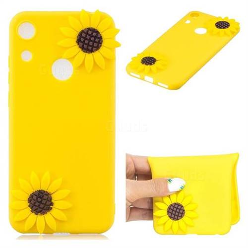Yellow Sunflower Soft 3D Silicone Case for Huawei Honor 8A