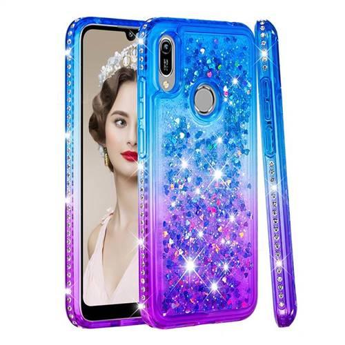 Diamond Frame Liquid Glitter Quicksand Sequins Phone Case for Huawei Honor 8A - Blue Purple