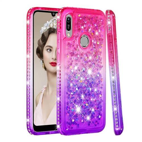 Diamond Frame Liquid Glitter Quicksand Sequins Phone Case for Huawei Honor 8A - Pink Purple