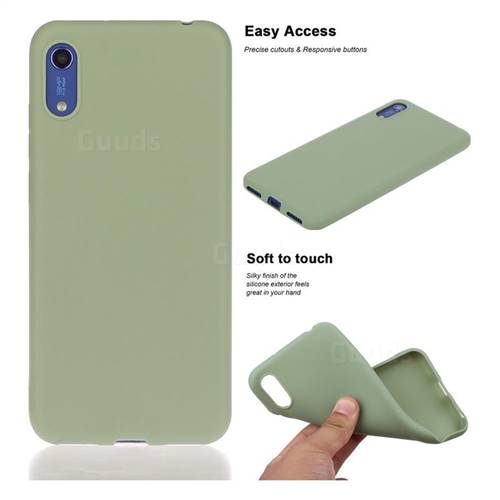 Soft Matte Silicone Phone Cover for Huawei Honor 8A - Bean Green