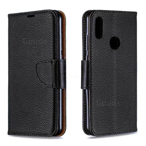 Classic Luxury Litchi Leather Phone Wallet Case for Huawei Honor 8A - Black