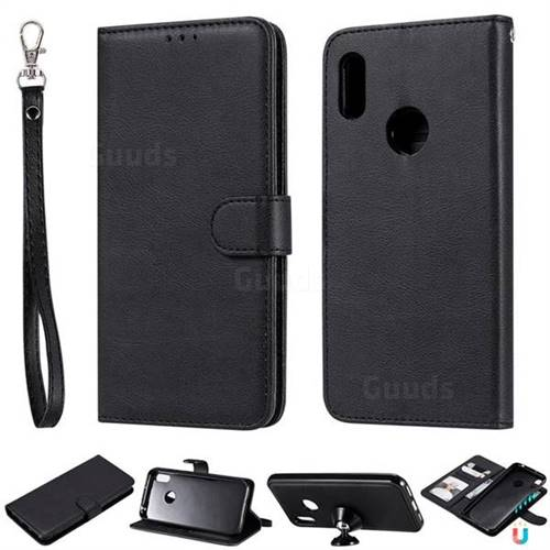 Retro Greek Detachable Magnetic PU Leather Wallet Phone Case for Huawei Honor 8A - Black