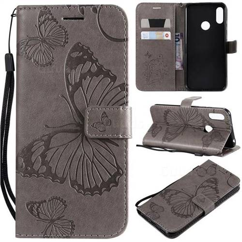 Embossing 3D Butterfly Leather Wallet Case for Huawei Honor 8A - Gray