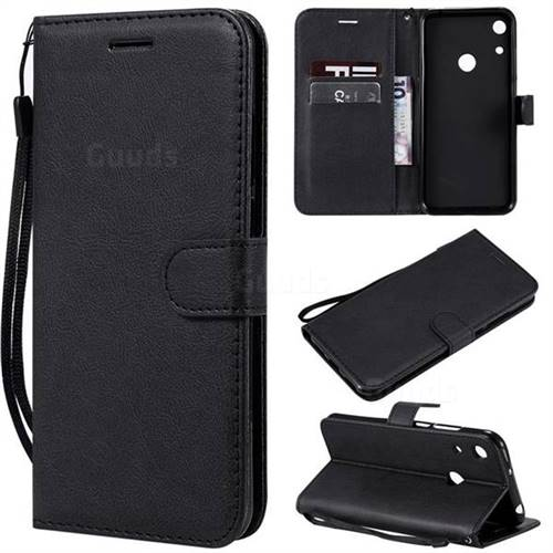 Retro Greek Classic Smooth PU Leather Wallet Phone Case for Huawei Honor 8A - Black