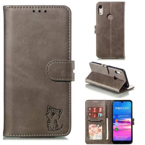 Embossing Happy Cat Leather Wallet Case for Huawei Honor 8A - Gray