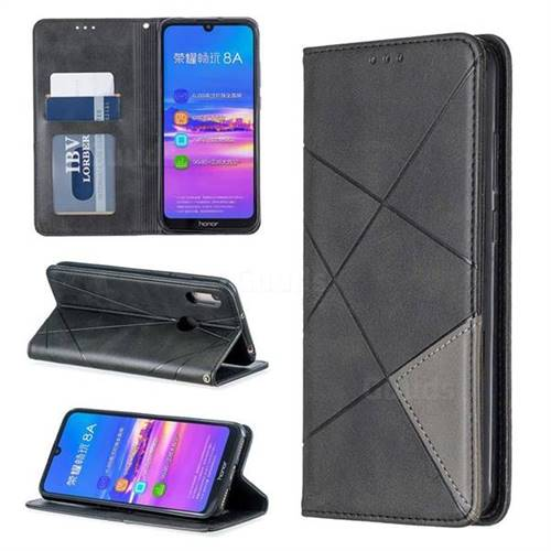 Prismatic Slim Magnetic Sucking Stitching Wallet Flip Cover for Huawei Honor 8A - Black