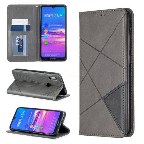 Prismatic Slim Magnetic Sucking Stitching Wallet Flip Cover for Huawei Honor 8A - Gray