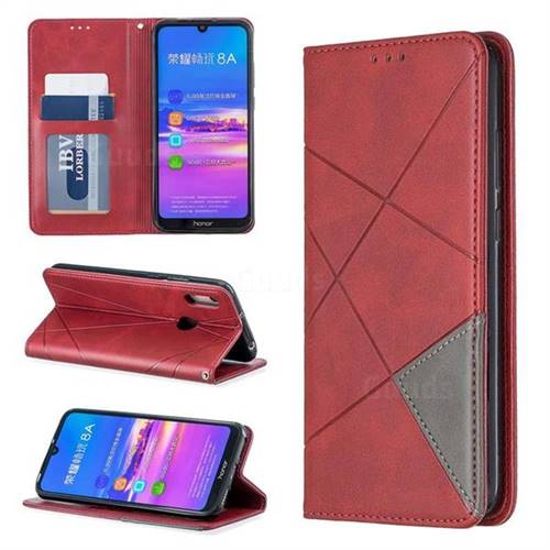 Prismatic Slim Magnetic Sucking Stitching Wallet Flip Cover for Huawei Honor 8A - Red