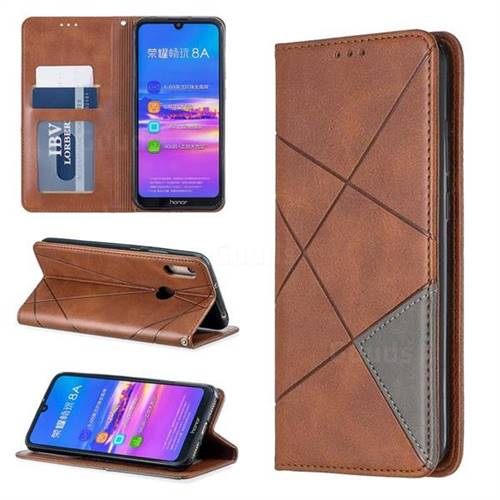 Prismatic Slim Magnetic Sucking Stitching Wallet Flip Cover for Huawei Honor 8A - Brown