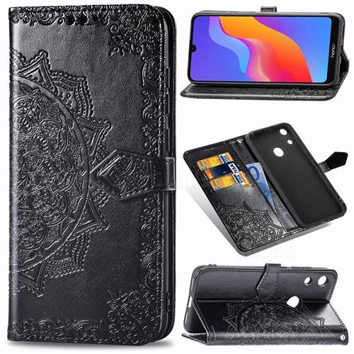 Embossing Imprint Mandala Flower Leather Wallet Case for Huawei Honor 8A - Black