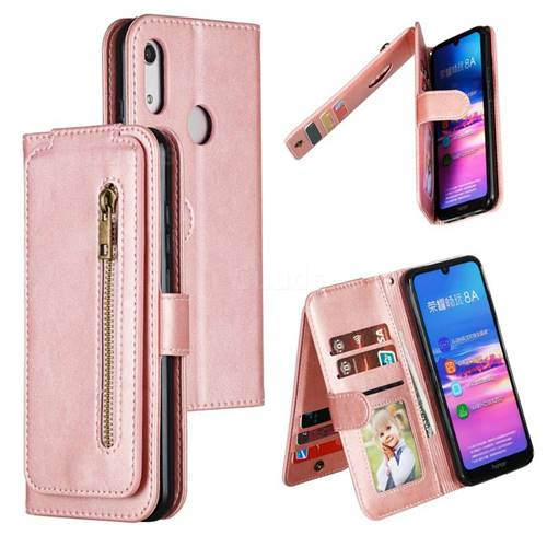 Multifunction 9 Cards Leather Zipper Wallet Phone Case for Huawei Honor 8A - Rose Gold