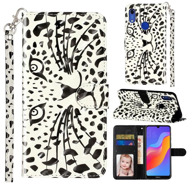 Leopard Panther 3D Leather Phone Holster Wallet Case for Huawei Honor 8A
