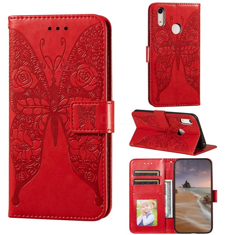 Intricate Embossing Rose Flower Butterfly Leather Wallet Case for Huawei Honor 8A - Red