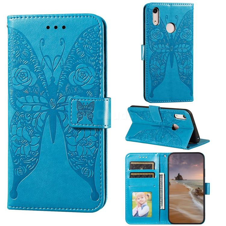 Intricate Embossing Rose Flower Butterfly Leather Wallet Case for Huawei Honor 8A - Blue