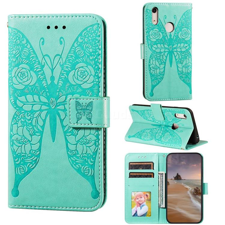 Intricate Embossing Rose Flower Butterfly Leather Wallet Case for Huawei Honor 8A - Green