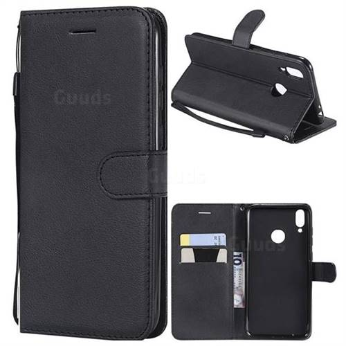 Retro Greek Classic Smooth PU Leather Wallet Phone Case for Huawei Honor 8C - Black