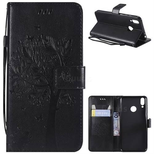 Embossing Butterfly Tree Leather Wallet Case for Huawei Honor 8C - Black