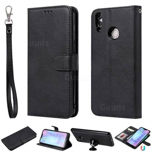 Retro Greek Detachable Magnetic PU Leather Wallet Phone Case for Huawei Honor 8C - Black