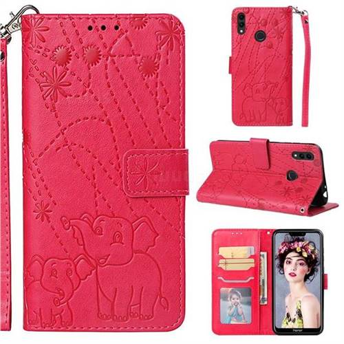 Embossing Fireworks Elephant Leather Wallet Case for Huawei Honor 8C - Red