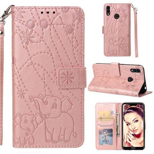 Embossing Fireworks Elephant Leather Wallet Case for Huawei Honor 8C - Rose Gold