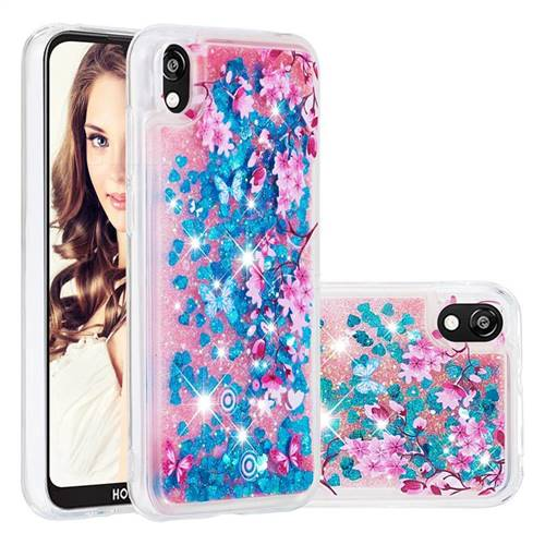 Blue Plum Blossom Dynamic Liquid Glitter Quicksand Soft TPU Case for Huawei Honor 8S(2019)