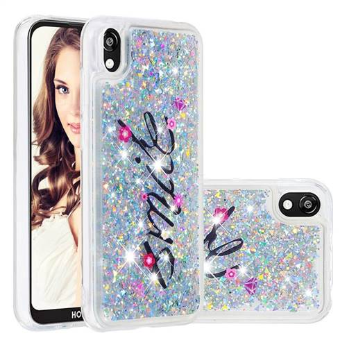 Smile Flower Dynamic Liquid Glitter Quicksand Soft TPU Case for Huawei Honor 8S(2019)
