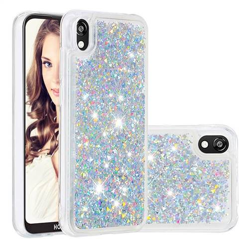 Dynamic Liquid Glitter Quicksand Sequins TPU Phone Case for Huawei Honor 8S(2019) - Silver