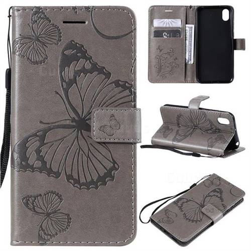 Embossing 3D Butterfly Leather Wallet Case for Huawei Honor 8S(2019) - Gray