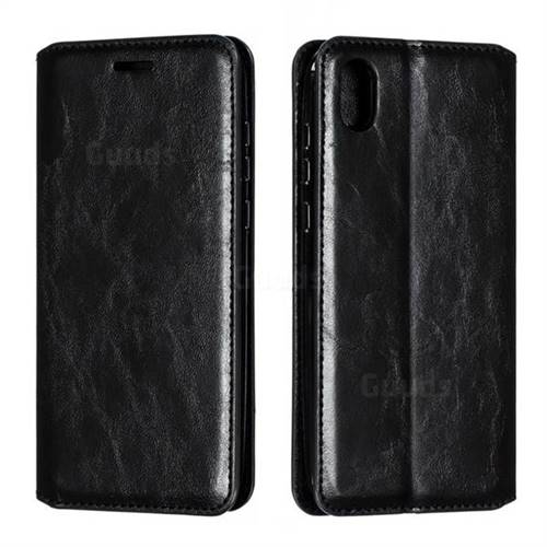 Retro Slim Magnetic Crazy Horse PU Leather Wallet Case for Huawei Honor 8S(2019) - Black