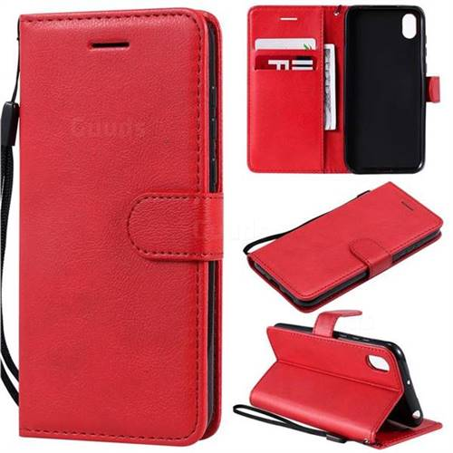 watch c9ce9 a48ec Retro Greek Classic Smooth PU Leather Wallet Phone Case for Huawei Honor  8S(2019) - Red - Huawei Honor 8S Cases - Guuds