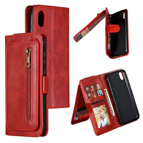Multifunction 9 Cards Leather Zipper Wallet Phone Case for Huawei Honor 8S(2019) - Red