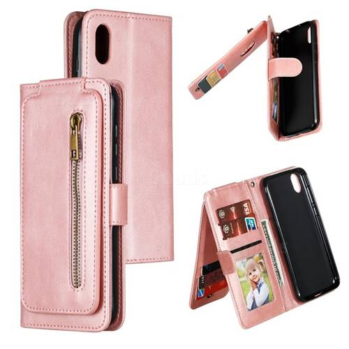 Multifunction 9 Cards Leather Zipper Wallet Phone Case for Huawei Honor 8S(2019) - Rose Gold