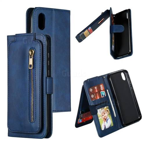 Multifunction 9 Cards Leather Zipper Wallet Phone Case for Huawei Honor 8S(2019) - Blue