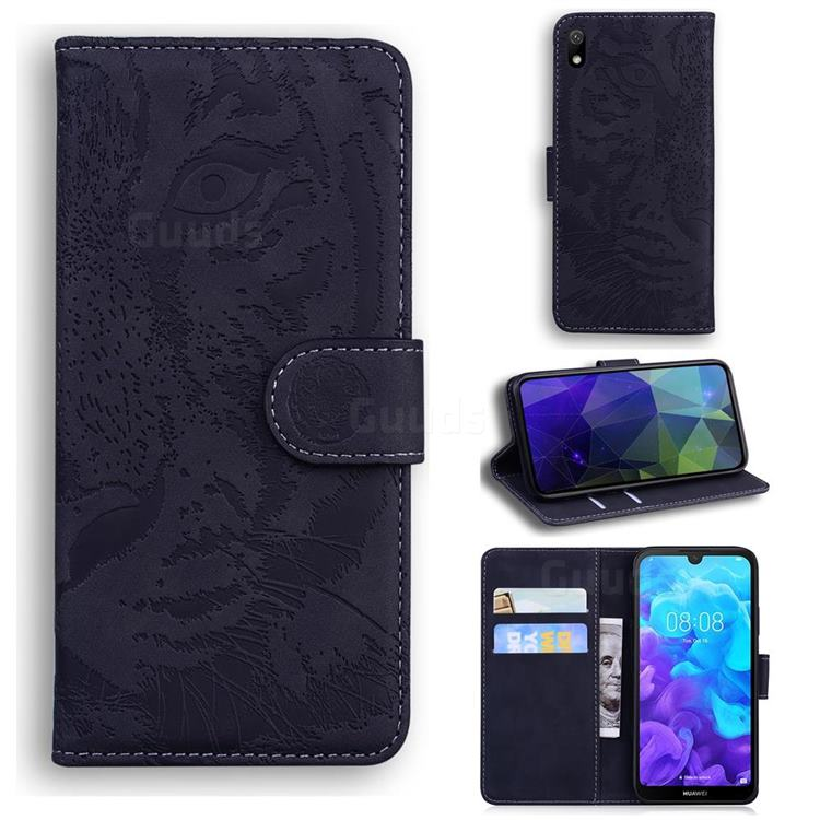 Intricate Embossing Tiger Face Leather Wallet Case for Huawei Honor 8S(2019) - Black