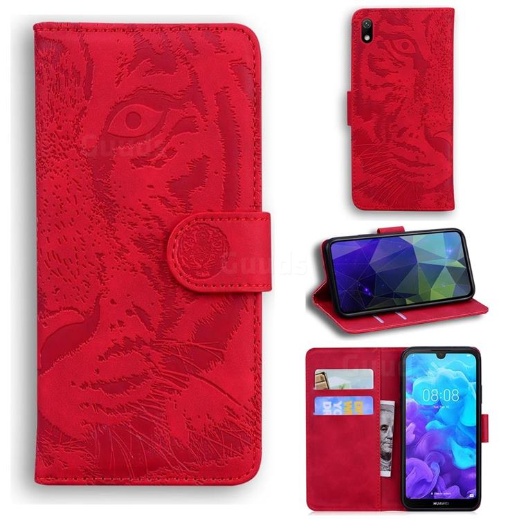 Intricate Embossing Tiger Face Leather Wallet Case for Huawei Honor 8S(2019) - Red