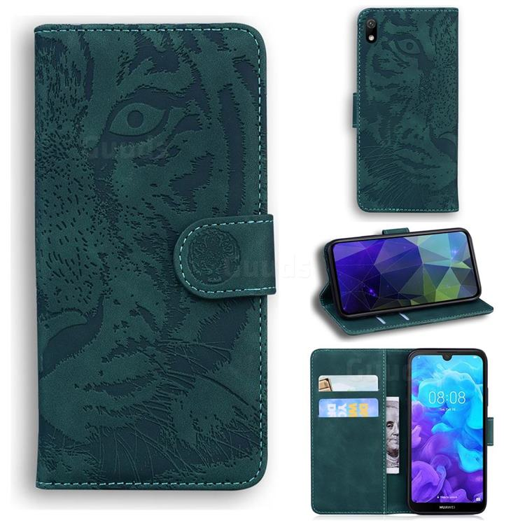 Intricate Embossing Tiger Face Leather Wallet Case for Huawei Honor 8S(2019) - Green