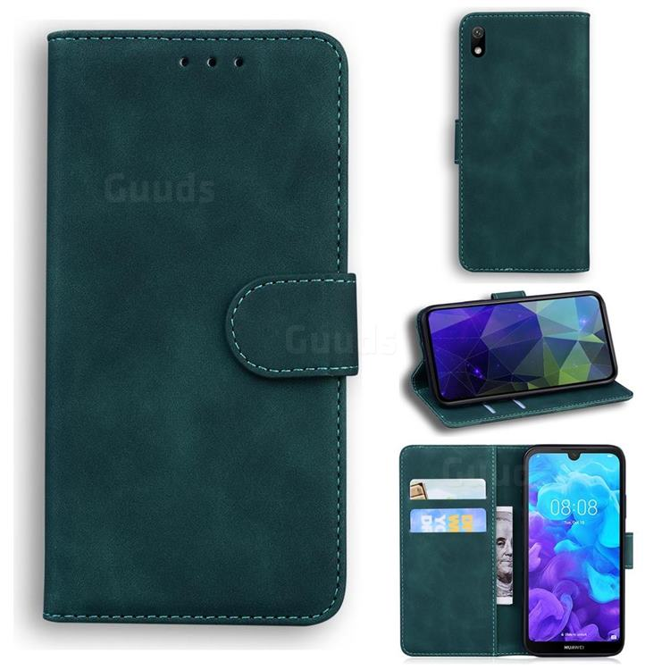 Retro Classic Skin Feel Leather Wallet Phone Case for Huawei Honor 8S(2019) - Green