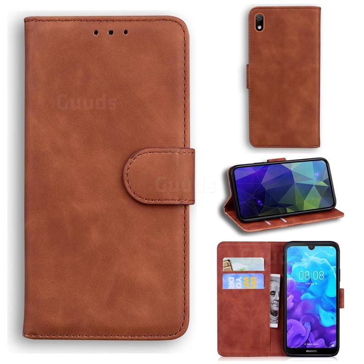 Retro Classic Skin Feel Leather Wallet Phone Case for Huawei Honor 8S(2019) - Brown