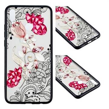Tulip Lace Diamond Flower Soft TPU Back Cover for Huawei Honor 8X
