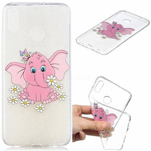 Tiny Pink Elephant Clear Varnish Soft Phone Back Cover for Huawei Honor 8X