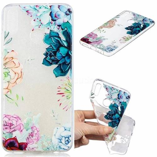 Gem Flower Clear Varnish Soft Phone Back Cover for Huawei Honor 8X