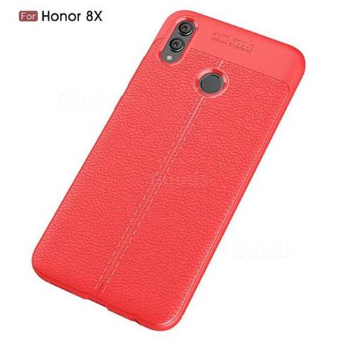 Luxury Auto Focus Litchi Texture Silicone TPU Back Cover for Huawei Honor  8X - Red