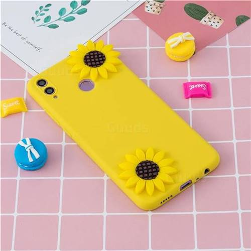 Yellow Sunflower Soft 3D Silicone Case for Huawei Honor 8X